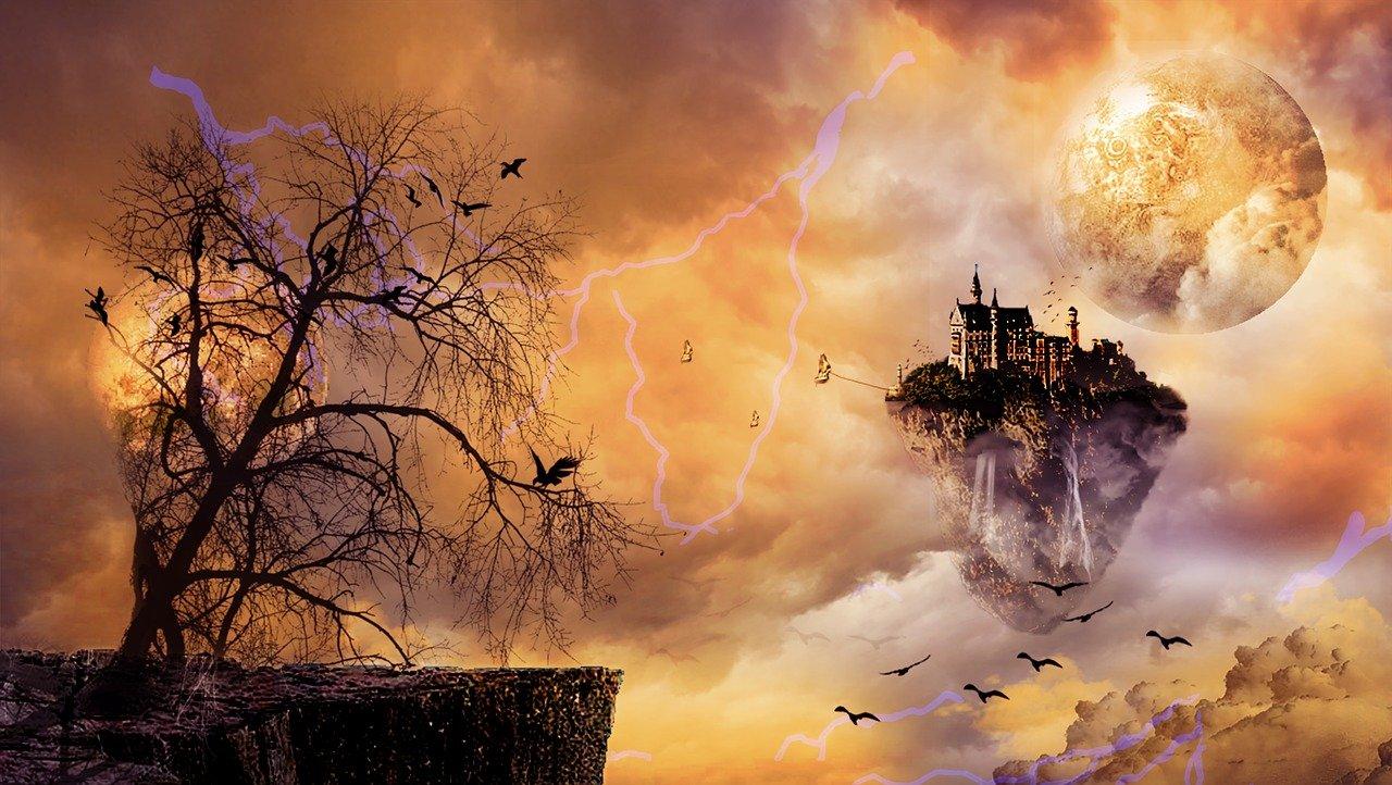 ambiente fantasy, castello volante, mi ricorda skyrim online