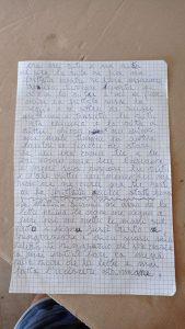 immagine del foglio di quaderno da cui è tratto l'articolo. Appunti di dialetto salentino.